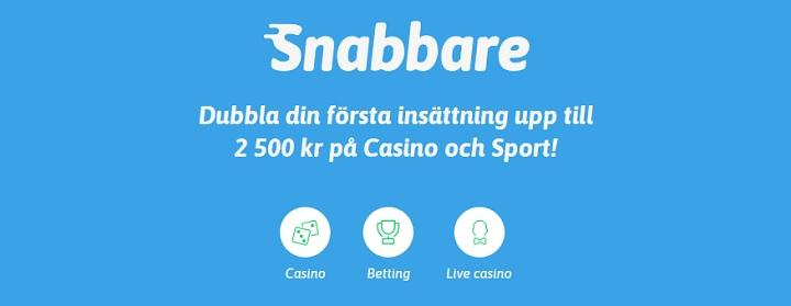 Snabbare.com mobilcasino med 2 500 kr bonus
